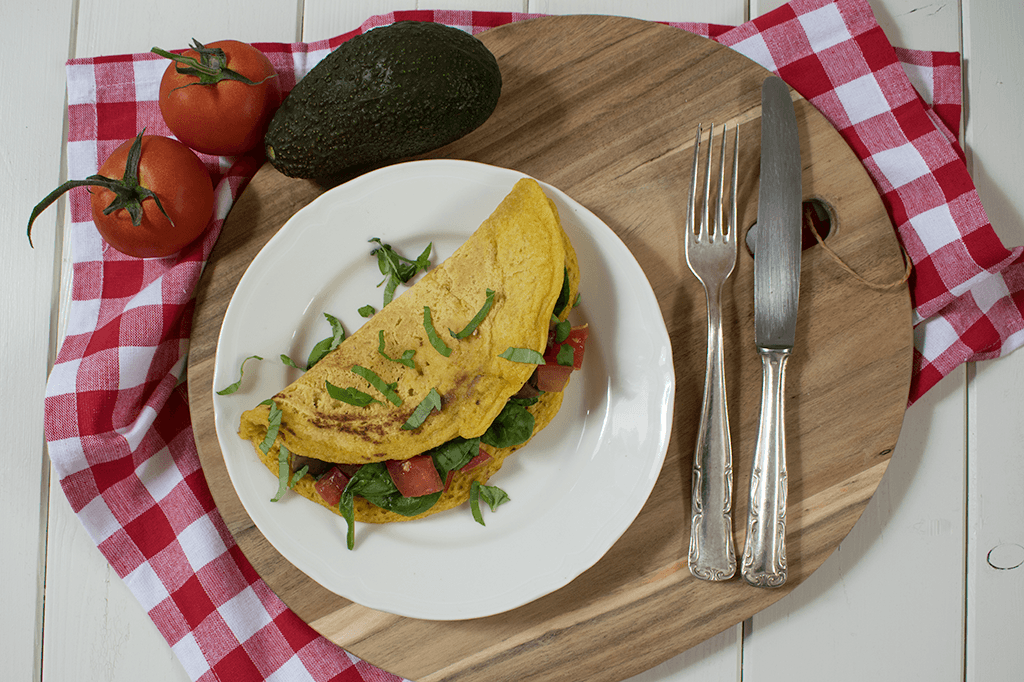 Kichererbsenomelette, getanes Omelette