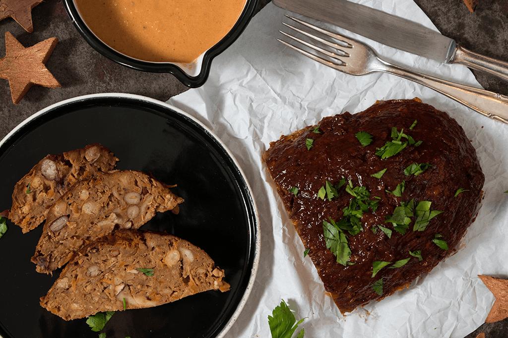 veganes Bohnen-Kichererbsen-Meatloaf, veganer Hackbraten