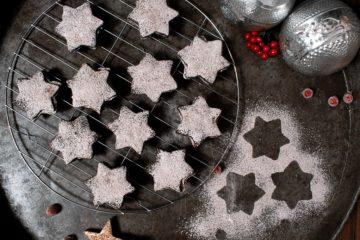 Vegane Nougat-Sterne, Kakao-Sterne, vegane Schokoplätzchen